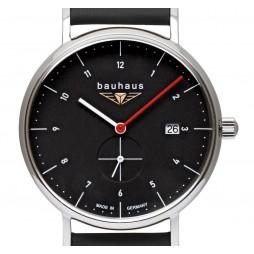 BAUHAUS UHR QUARZ kleine Sekunde 2130-2 schwarz - Wasserdicht 5 atm , Datum