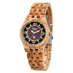 GreenTime SOLAR Holzuhr Sun3 - Damen Armbanduhr aus Olivenholz SOLARWOOD