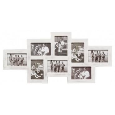 Deknudt Rustikaler Galerierahmen in weiß für 8 Bilder 10x15 cm