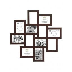 Deknudt Galerierahmen, braun für 12 Bilder 10x15 cm Holz
