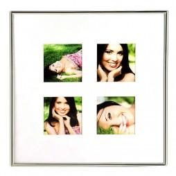 Goldbuch Galerierahmen Fine mit Passepartout für 4 Bilder 7x7 cm Metallrahmen zum Stellen