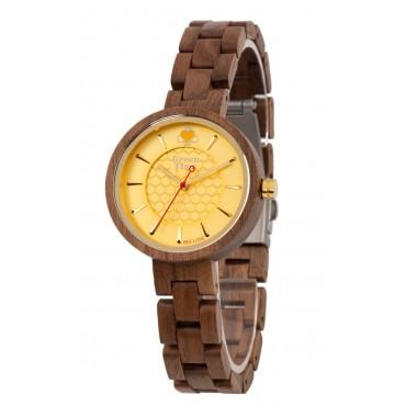 GreenTime Holzuhr BeeLove - Damen Armbanduhr aus Walnussholz