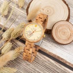 GreenTime Holzuhr Biene - Damen Armbanduhr aus Olivenholz
