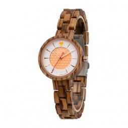 GreenTime Holzuhr Honey - Damen Armbanduhr aus Zebranoholz