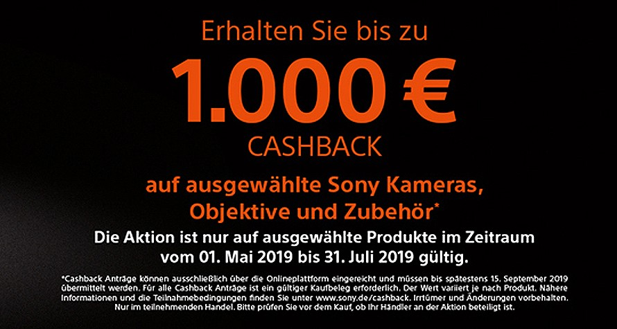 Sony Cashback bis 31.07.2019 - bis zu 1000,00 Euro Sparen!